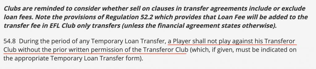 Can Loan Players Play Against Their Parent Club In The Championship
